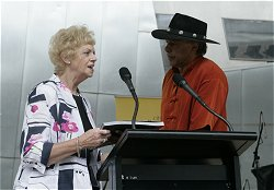 Melbournes Deputy Lord Mayor, Susan Riley, and Ernie Dingo