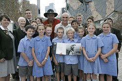 Paul Kelly and Ernie Dingo launch Queenie's book