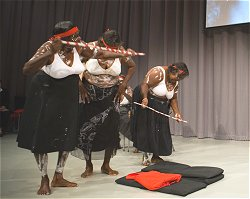 Warmun women performing a special ceremony for Queenie at their book launch in Canberra