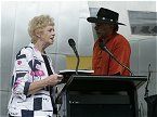 Melbournes Deputy Lord Mayor, Suzan Riley, and Ernie Dingo